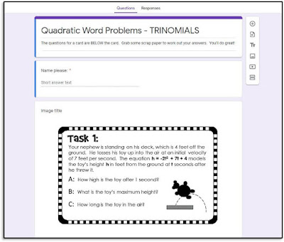 I have a growing section of digital algebra task cards, like these for quadratic word problems.
