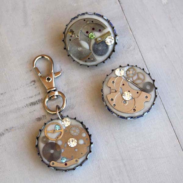 steampunk bottle caps using resin epoxy clay
