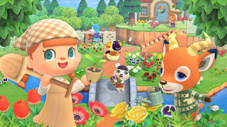 Image of the player character from Animal Crossing and Beau, a deer, standing in front of flowers and smiling.