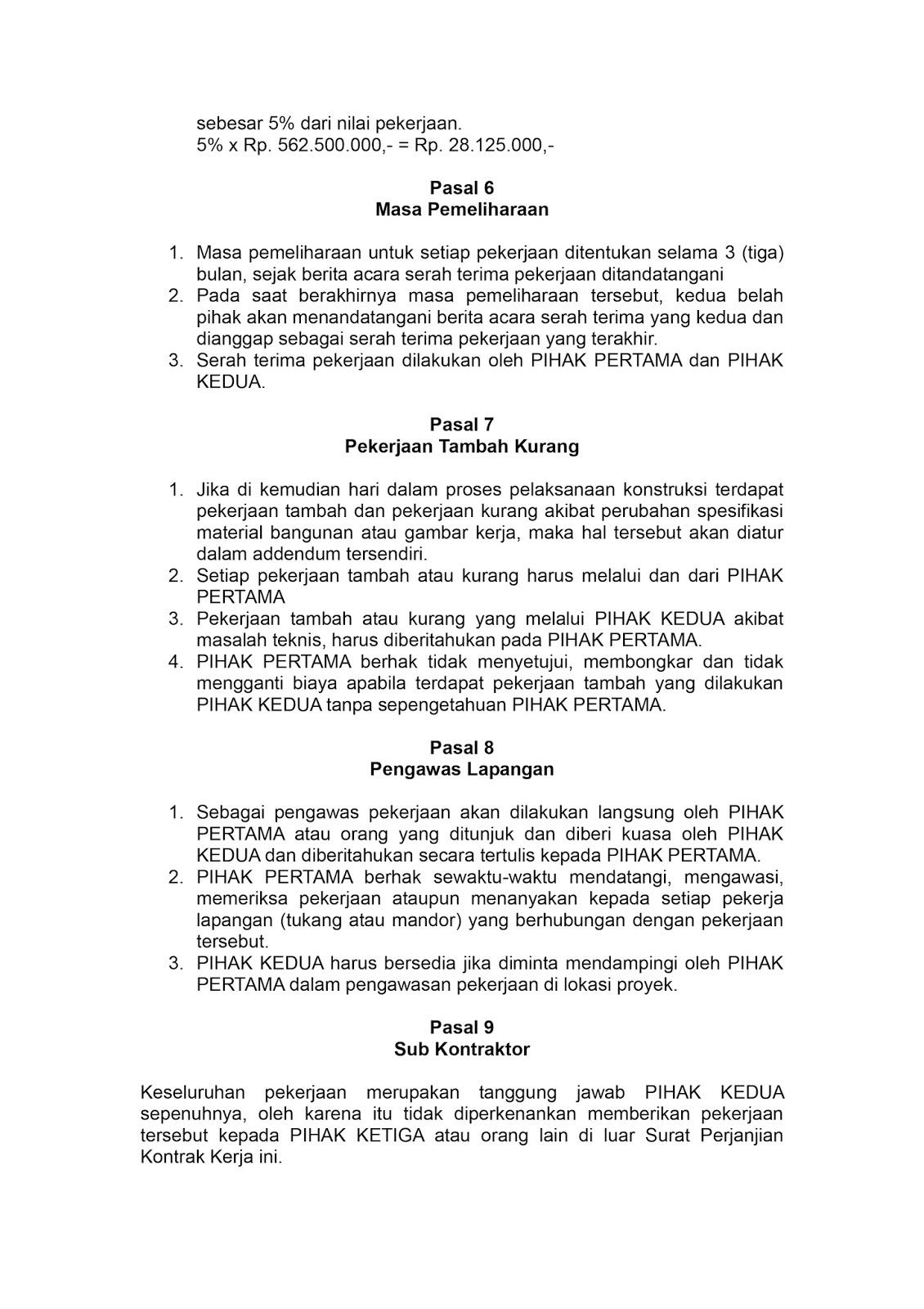 Analisa Kontrak Kerja | Bima Haryadi