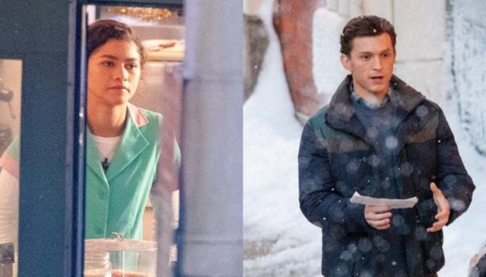 Imagem a atriz Zendaya dentro de uma loja, usando um uniforme verde-água com detalhes rosas e Tom Holland andando na rua cheia de neve, com um papel na mão e usando um casaco escuro.