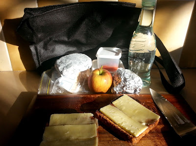 Cheese on toast on a chopping board. Behind it on the kitchen bench are various tinfoil packages and plastic containers, an apple, and a bottle of water.