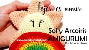 Arcoiris y Sol Amigurumi para la cuna de los bebés / Tutorial especial niños