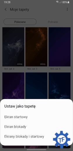 Samsung Wybór miejsca ustawianej tapety