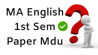 MA English 1st Sem Question Papers 2018