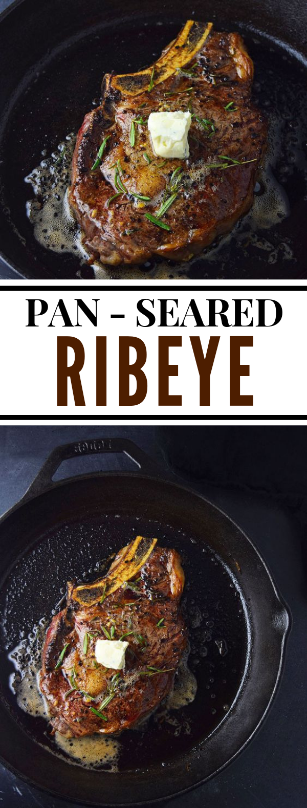 Pan-Seared Ribeye Steak with Blue Cheese Butter Recipe #dinner #beef