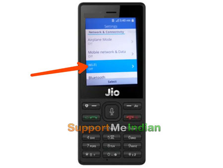 click on wifi in jio phone
