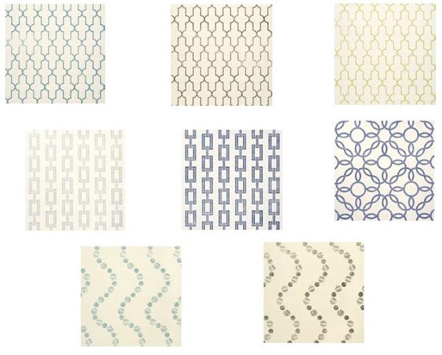 Samples of Phillip Jeffries printed wallpaper