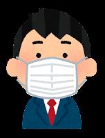 マスクを付けた人のイラスト(男子学生)