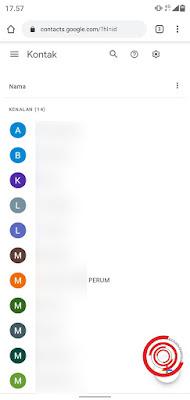 2. Maka akan tampil semua kontak yang tersimpan di Google Kontak, jika kalian ingin menambah kontak baru silakan klik tambah di pojok kanan bawah
