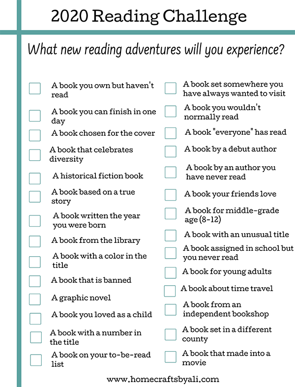 Reading Challenge Free Printable Book Type Suggestions.