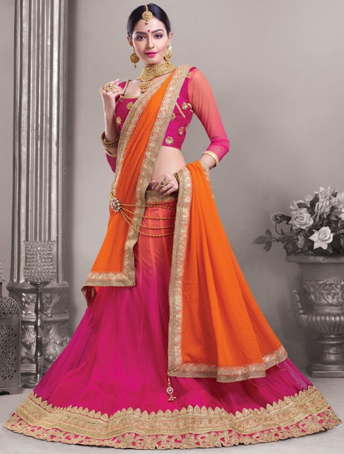 Pink Lehenga with Orange Dupatta