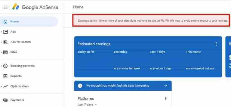 """الحل النهائي لمشكلة """" الأرباح في خطر"""" في أدسنس وملف ads.txt"""