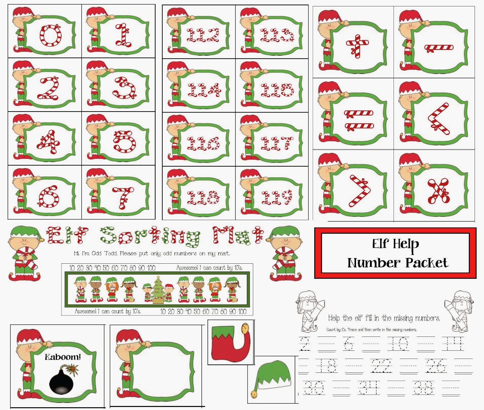 Classroom Freebies Elf Number Packet