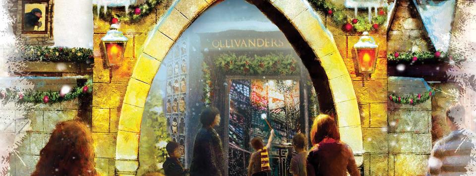 O Natal chegará na primeira exibição do Wizarding World no The Shops of South Town, de Utah.