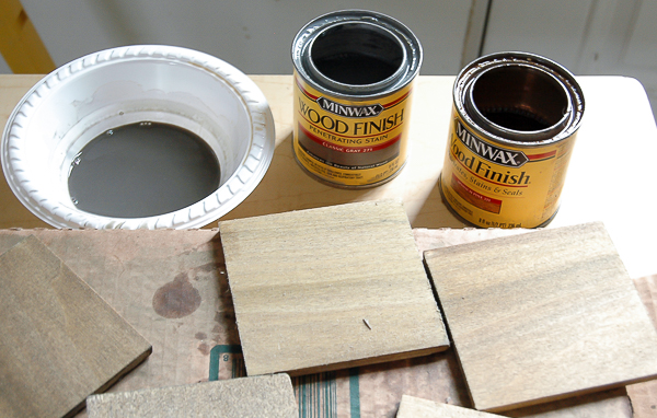 staining wood coasters with minwax stain
