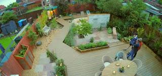 Overhead view of garden
