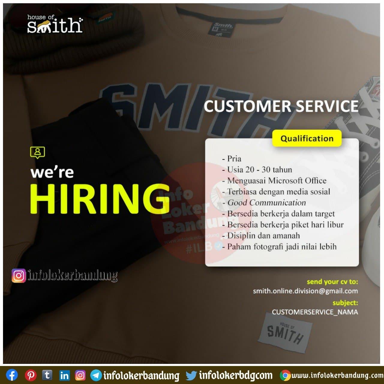 Lowongan Kerja Customer Service House Of Smith Bandung Januari 2021