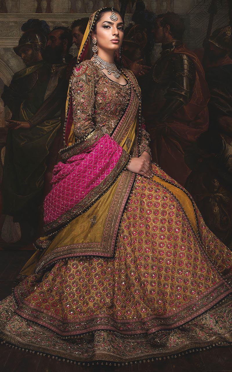 Fahad Hussayn Anarkali Bridal Shirt with Jamawar Lehenga