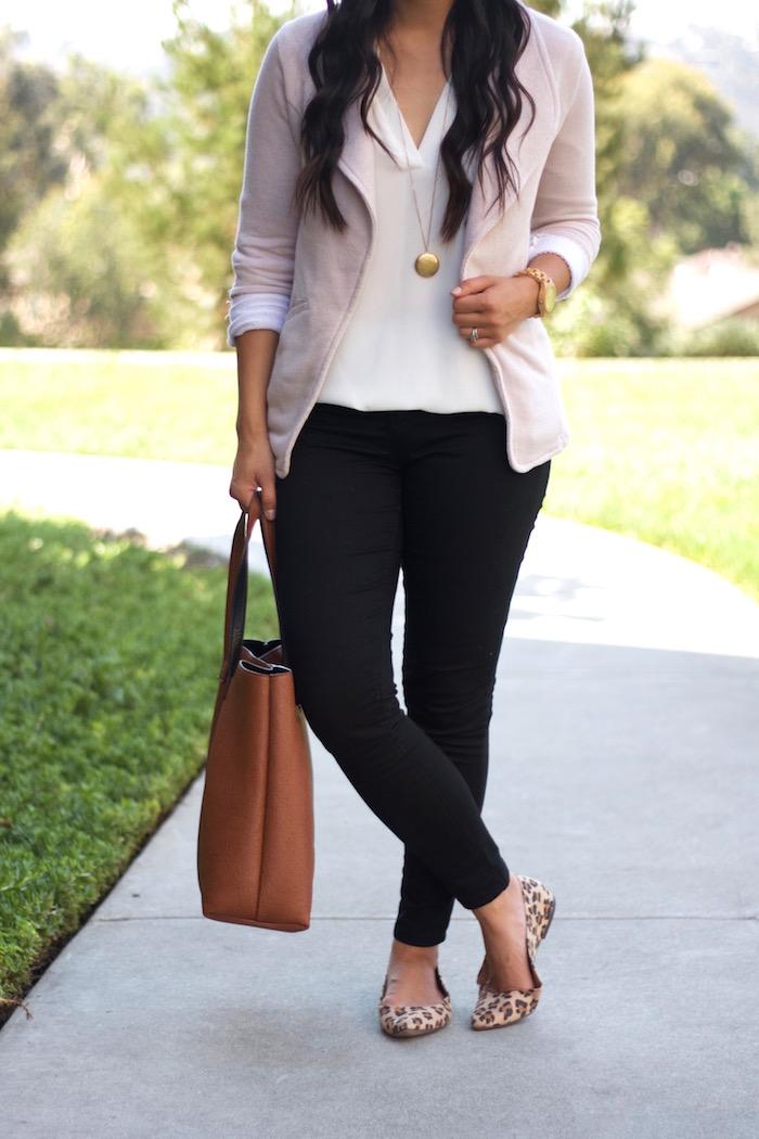 Black Jeans + Leopard Flats + Oatmeal blazer + White blouse