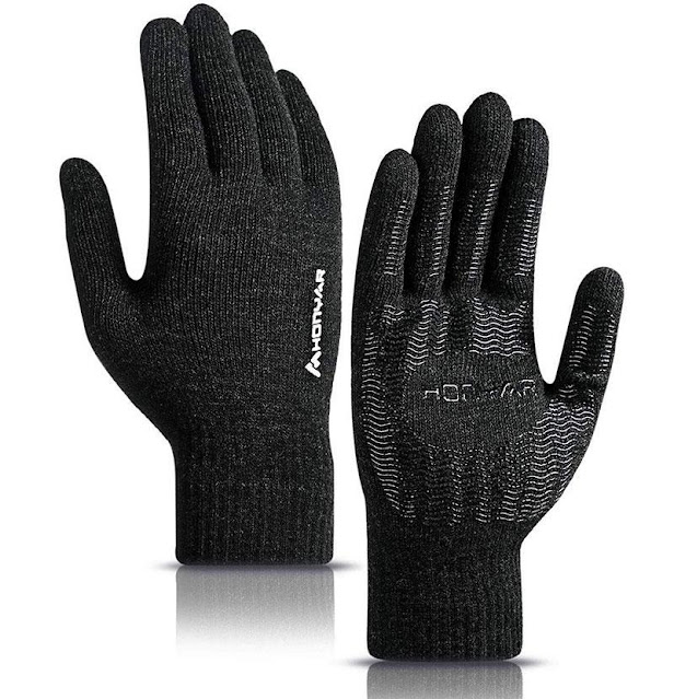Honyar 360° Whole Palm Touchscreen Winter Knit Gloves