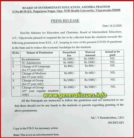 Cancel some fees for inter students in AP