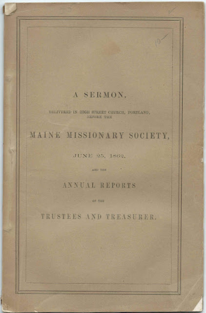 Maine Churches and Pastors Supported by the Maine Missionary Society in 1861 and 1862