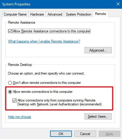 خيار السماح بالاتصالات عن بُعد بهذا الكمبيوتر