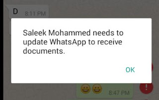 Contact needs to update WhatsApp to receive documents