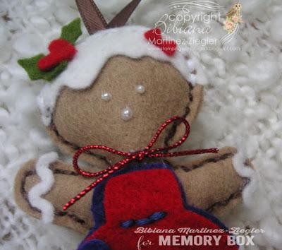 gingerbread ornaments in felt girl detail