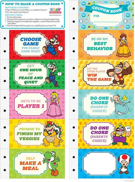 My Super Mario Boy Super Mario Printable Coupon Book Gift