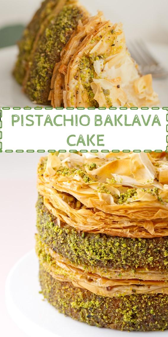 PISTACHIO BAKLAVA CAKE #Pistachio #Baklava #Cake #Pastry