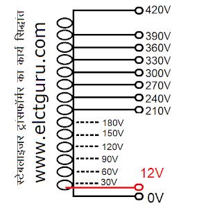 stabilizer transformer winding formula in hindi