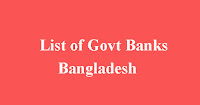 List of Govt Banks in Bangladesh