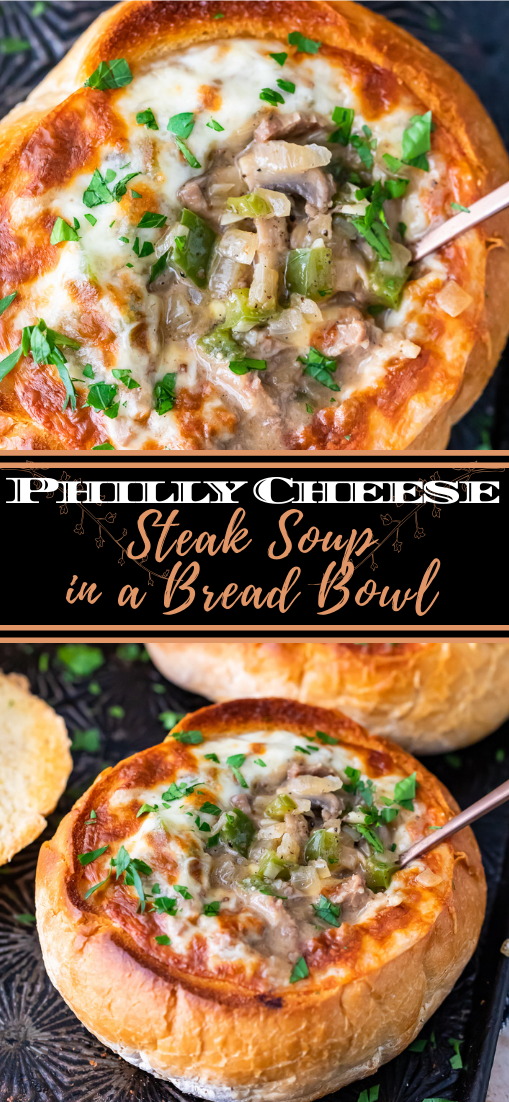 Philly Cheese Steak Soup in a Bread Bowl #dinnerrecipe #food #amazingrecipe #easyrecipe