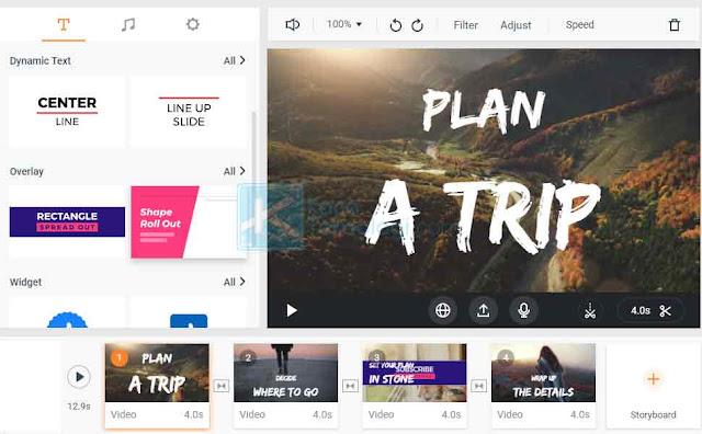Ketika sobat mencoba membuat projek baru, sobat akan diarahkan ke halaman editor di mana sobat dapat mengedit video, menyisipkan teks, animasi, musik dsb di halaman tersebut.