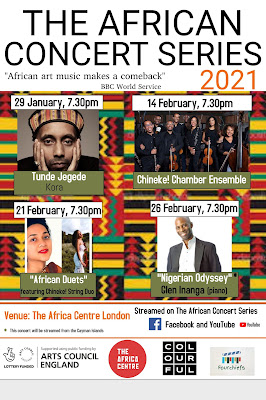 The African Concert Series London: Following the success of the first ever African Concert series, Rebeca Omordia is delighted to announce a 2021 series