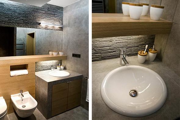 Nowoczesna Architektura Drewno I Beton W łazience