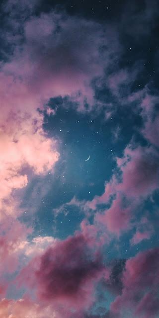 Hình nền mặt trăng giữa bầu trời đêm