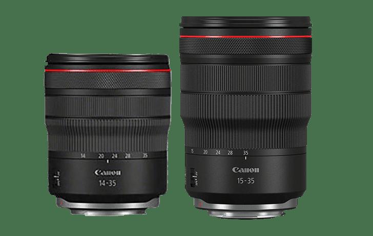 Сравнение габаритов объективов Canon RF 14-35mm f/4L и RF 15-35mm f/2.8L