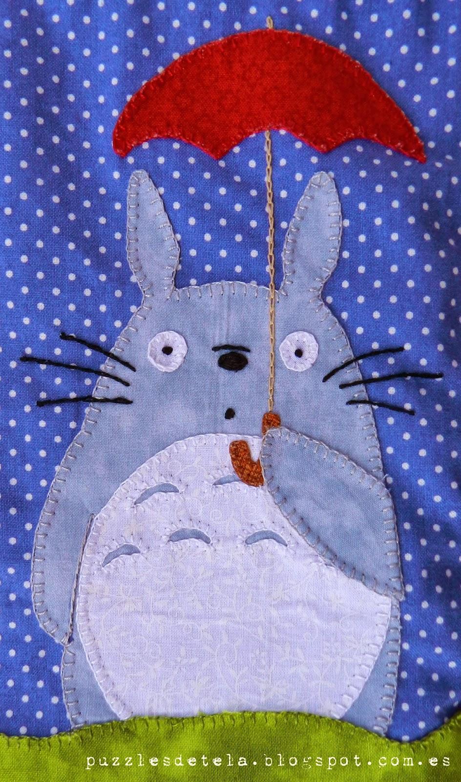 Bolsa merienda patchwork, bolsa merienda, Totoro, patchwork, aplicaciones patchwork, Puzzles de tela, puzzle de tela, bolsas patchwork