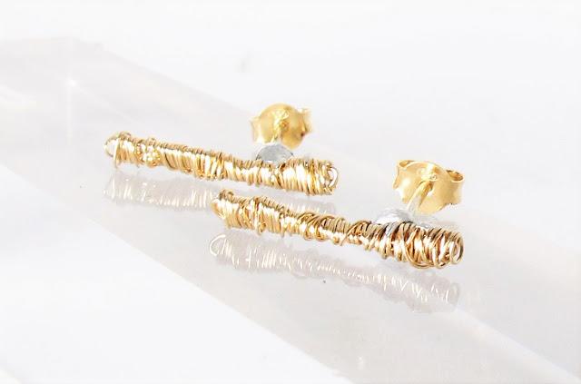14k gold ear climber earrings, modern earrings