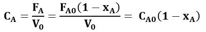 Concentración de la especie A en función de la conversión