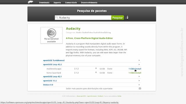 Pesquisa de pacotes do openSUSE