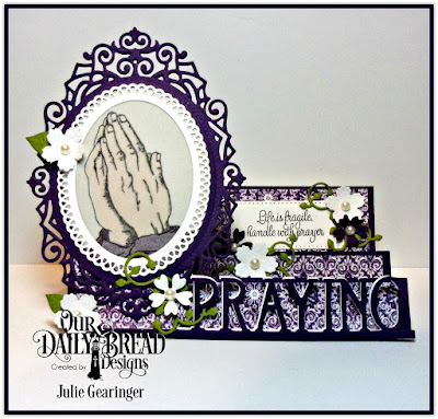Our Daily Bread Designs Stamp Set: Handle with Prayer, Our Daily Bread Designs Custom Dies: Bitty Blossoms, Lovely Leaves, Praying Border,ODBD Ornate Ovals,Pierced Rectangles, Our Daily Bread Designs Paper Collection: Christmas Card 2016