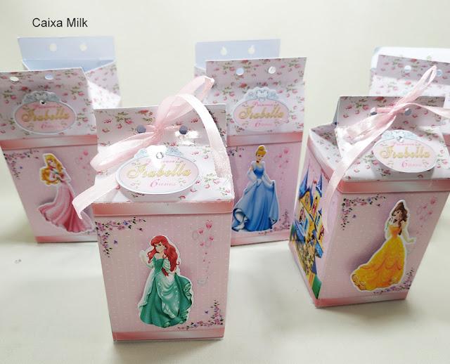 Caixa Milk As Princesas  Disney dicas e ideias para decoração de festa personalizados