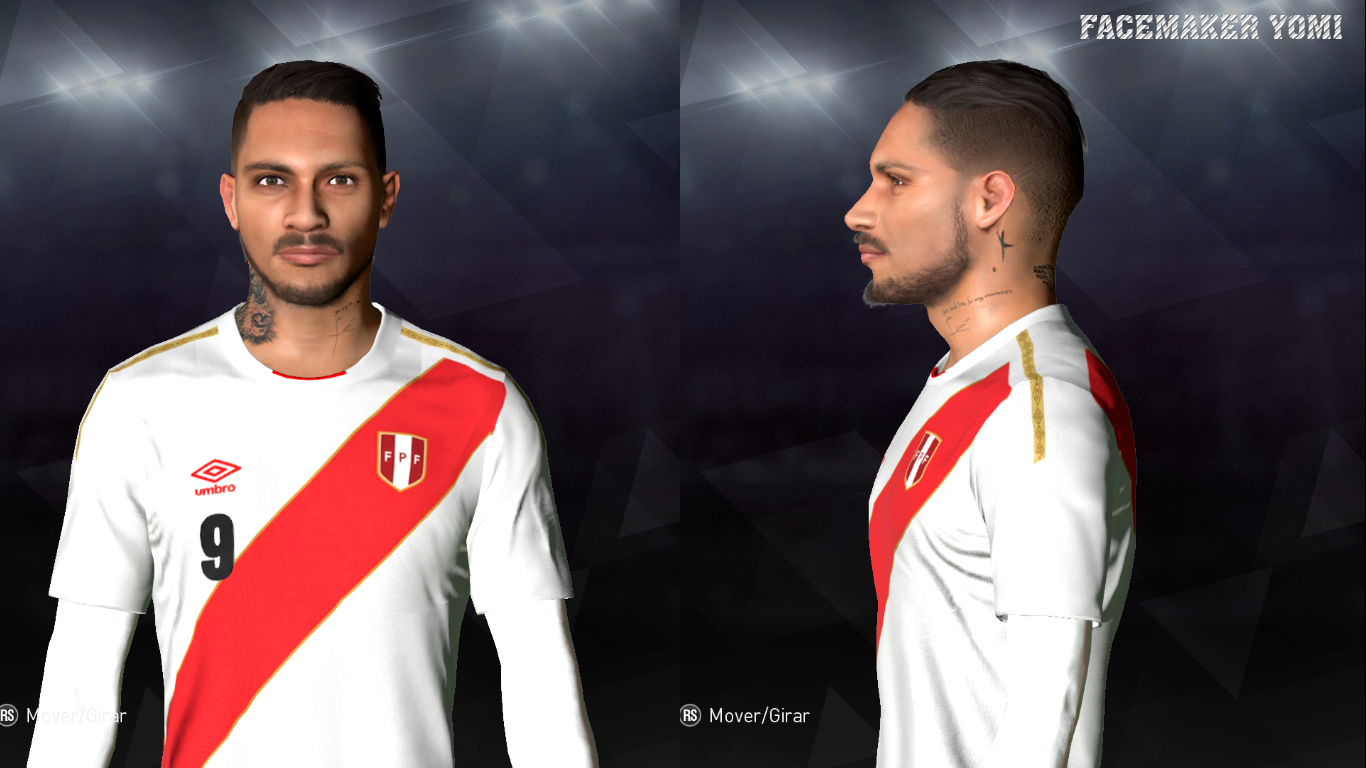 PES 2017 Face Paolo Guerrero V1 + new tattoo on his neck by Facemaker Yomi