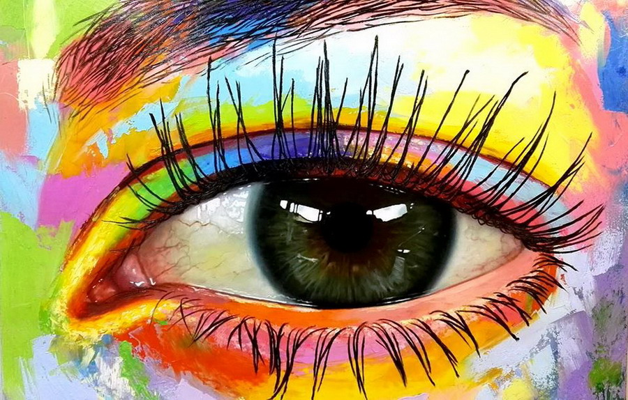Im genes arte pinturas pinturas coloridas modernos ojos for Imagenes de cuadros abstractos grandes
