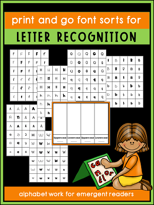 This FREE RESOURCE for font sorting is part of a hands-on alphabet activities post. Stop by and check out all of the fun ways to work on letters and sounds.