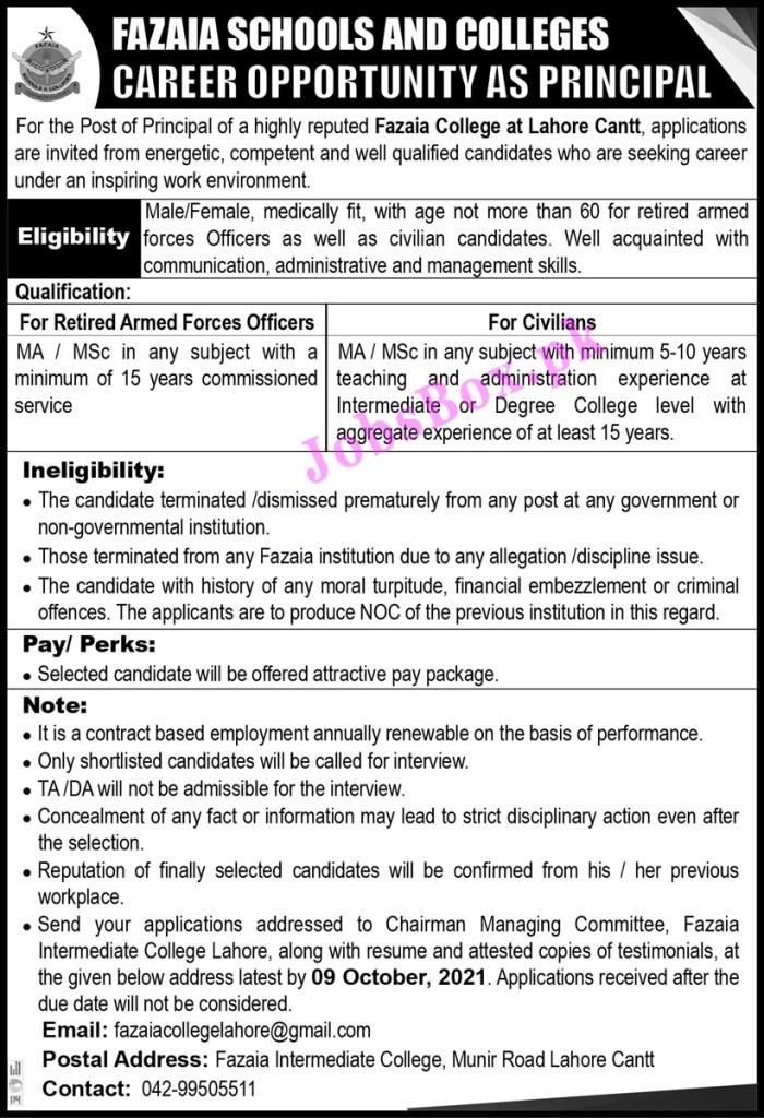 Fazaia Schools and Colleges Jobs 2021 in Pakistan